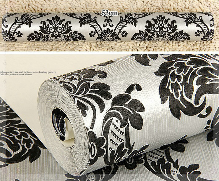 Beige White Black French Pattern Damask Wallpaper Wall Paper Roll Wallcoverings Papel De Parede Green Bathroom Flooring In Wallpapers From Home Improvement