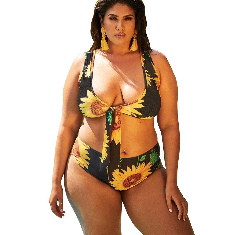 79e70fc9eb Detail Feedback Questions about Women Bikini Swimsuit Plus Size Bikini Sets  4XL Push Up Beach Wear Sunflower Swimwear Sexy Large Size Fat Bather  Swimming ...