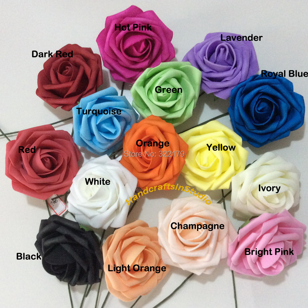 Dark Red Artificial Wedding Flowers Bridal Bouquets 7cm Foam Roses ...