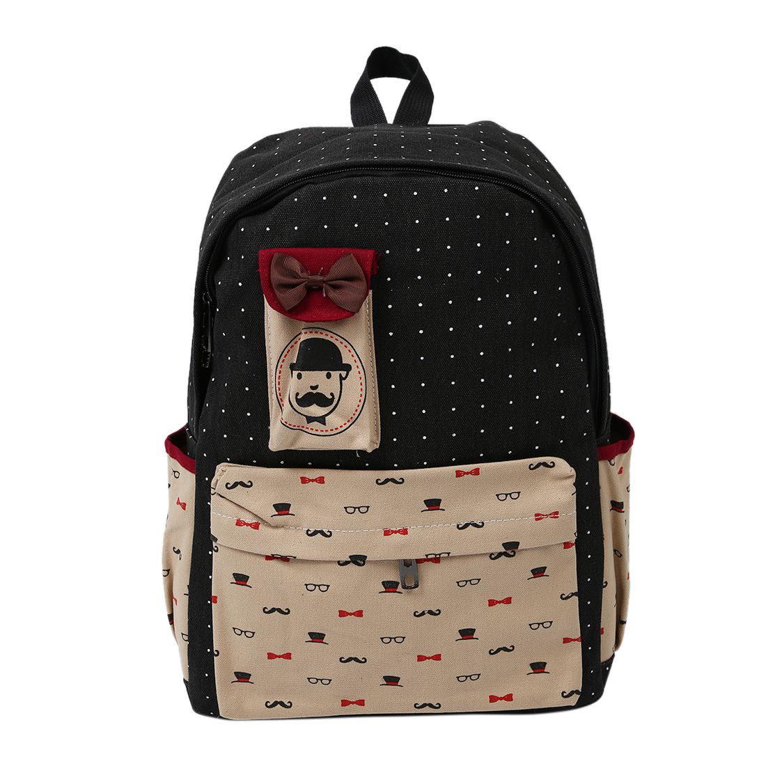 Fashion Lovely Cartoon Pattern Canvas Travel Bag Girl s Dots Backpack Black and Beige Patchwork Leisure