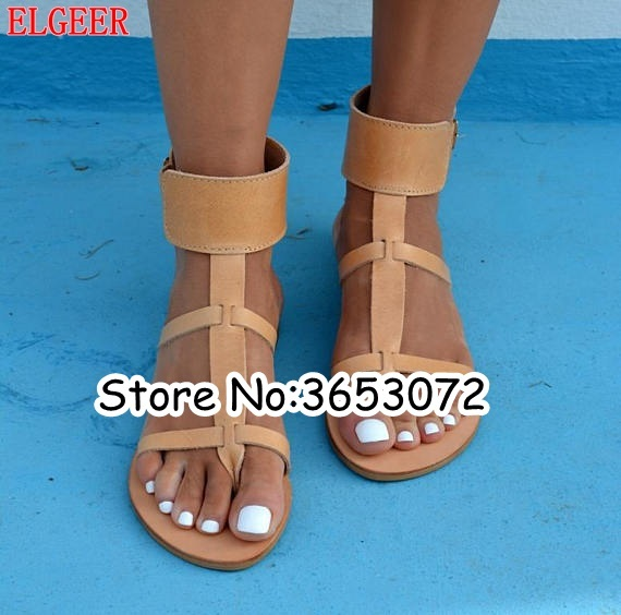 6ddedf3f949 T strap Ring Toe Buckle Strap Casual Style Women Gladiator Sandals Gold  Silver Black Brown Leather Rome Lady Ankle Cuff Flats-in Women s Sandals  from Shoes ...