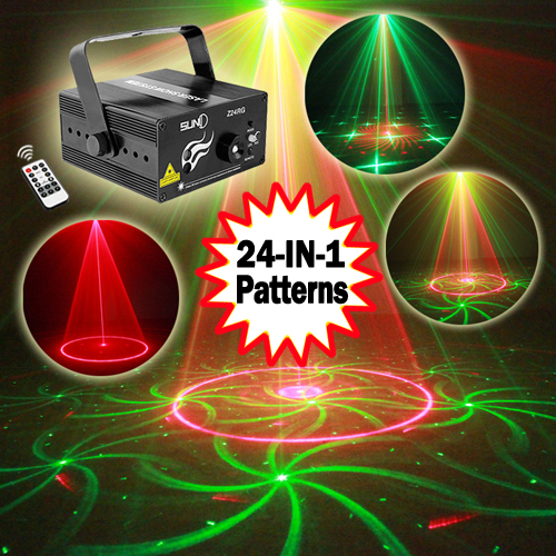 SUNY 3 Lens 24 Patterns RG Mini Laser Light Show Blue LED Stage Lighting Effect Home Party DJ Disco Light With IR Remote disco ball mini laser stage lighting 3w led stage light rgb party light mini laser lighting home entertainment dual function
