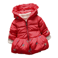 Baby Girls Winter Jackets toddle Baby Girls long-sleeved with print warm jacket Baby Winter Outerwear Thick Hooded clothes