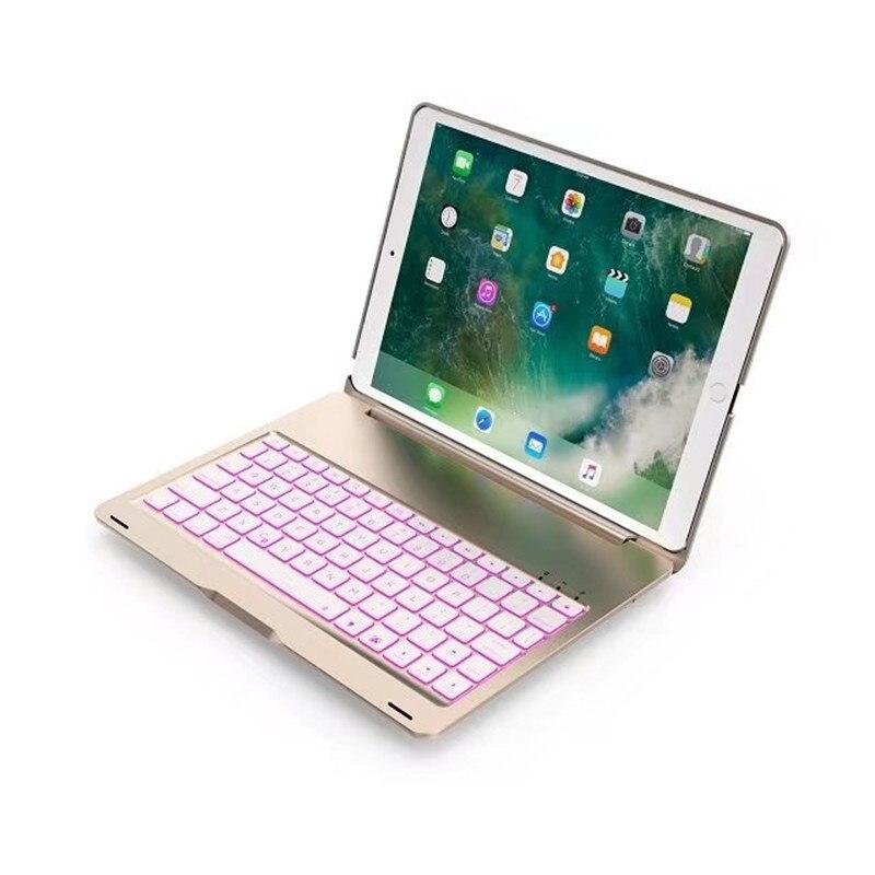 7 couleurs rétro-éclairé en aluminium sans fil étui pour clavier bluetooth couverture pour iPad Pro 10.5 nouveau 2017 A1701 A1709 tablette Shell