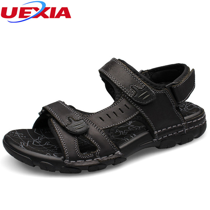 UEXIA Big Size 37-46 Summer Leather Beach Men Sandals Shoes Casual High Quality Soft Sole Fashion Breathable Leather Sandalias