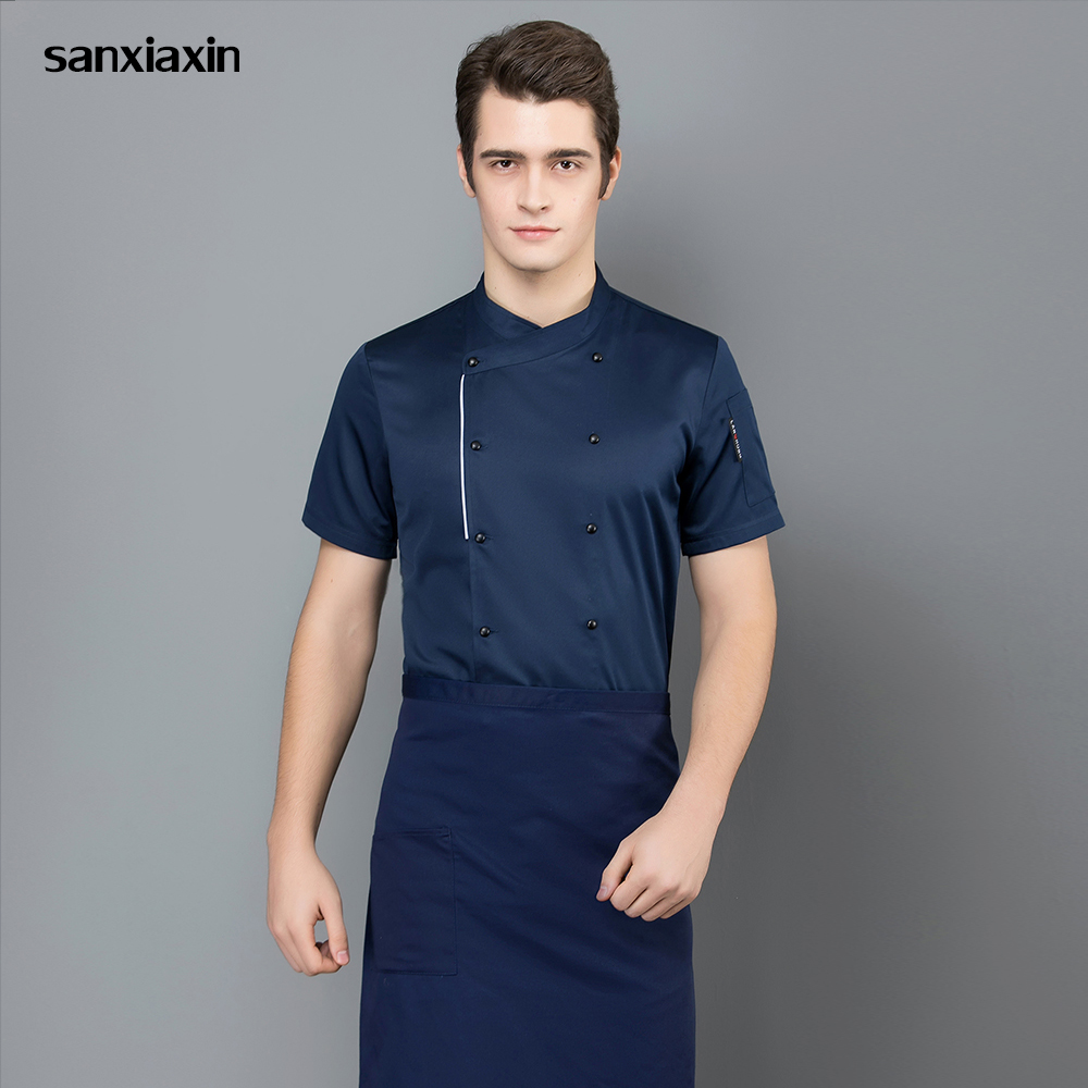 Breathable Short Sleeved Chef Jacket Unisex Kitchen Chef Hotel Restaurant Kitchen Uniform Shirt Chef Work Clothes Men Wholesale
