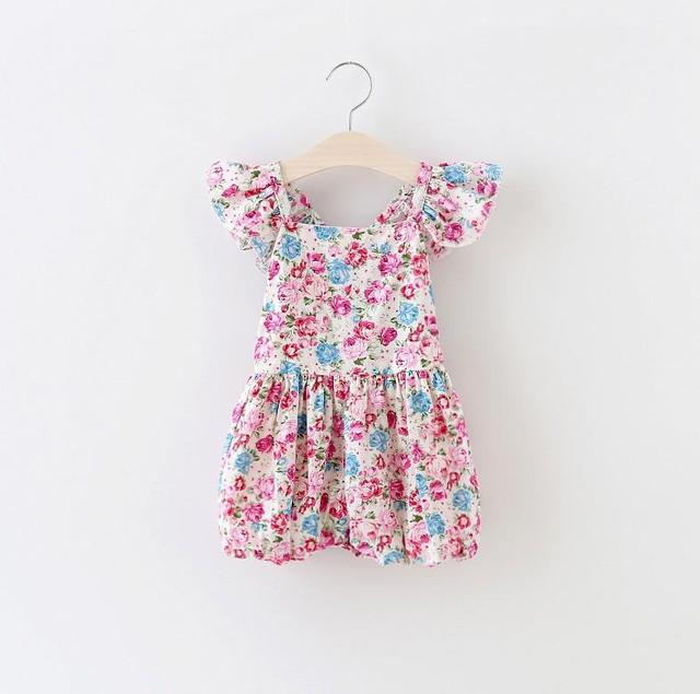 New Arrival Sweet Baby Girls Floral Overalls Ruffles Halter Summer Pants Cotton Children Multi Color Pants