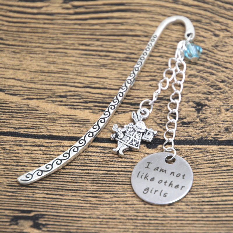 12pcs Alice in Wonderland Inspired Bookmark I am not like other girls Silver colored bookmark