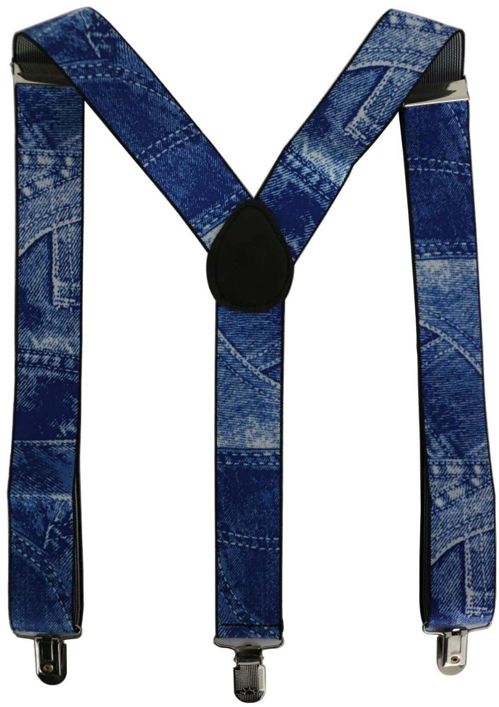 2018 Pants Braces Free Ship New 3.5cm Wide Adustable 3 Clips Denim Blue Braces For Mens Male Adjustable Elastic X Back