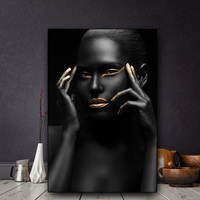 1 Piece African Art Nude Woman Black Gold Oil Painting on Canvas Cuadros Posters and Prints Scandinavian Wall Picture No Framed