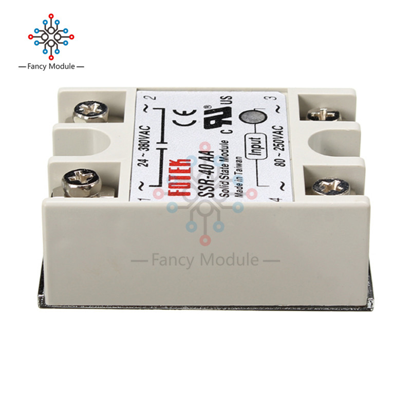 90-480V AC SSR-40AA-H 40A Solid State Relay Module 80-280V AC Heat Sink
