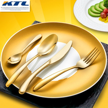 KTL 4 Pcs New Golden Dinnerware Set Top Quality 304 Stainless Steel Gold Cutlery Dinner Knife Fork Spoon Smooth Tableware Set