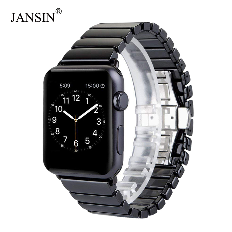 JANSIN Ceramic Link Bracelet For Apple Watch Band Series 5 4 3 2 1 Strap For Apple Watch 38mm/42mm/40mm/44mm Butterfly Buckle