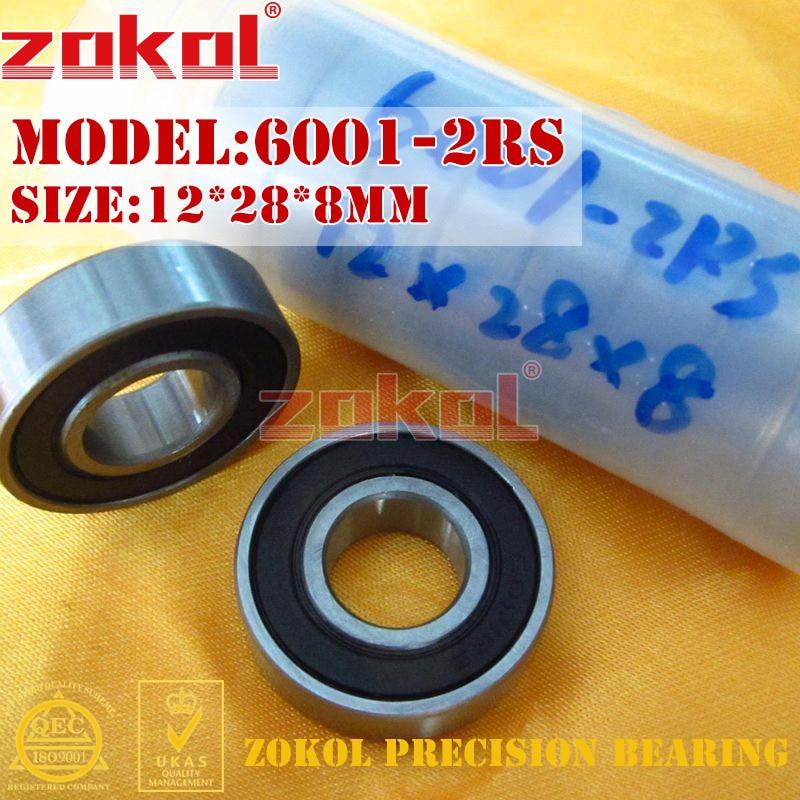 ZOKOL 6001RS bearing 6001 2RS 180101 6001-2RS Deep Groove ball bearing 12*28*8mm чайник bosch twk 6001