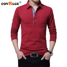 Covrlge 2018 Spring New Male Polo Shirt Long Sleeve Cotton Casual Plus Size 4XL 5XL Tee Brand Polos Solid Jersey MTP043