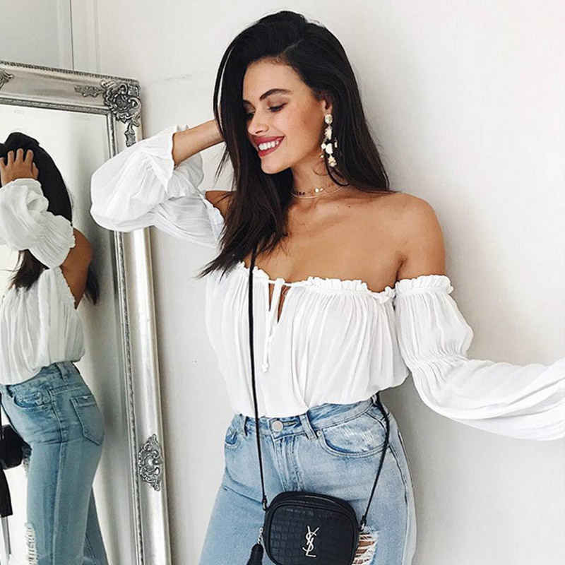 2018 Ruffled chiffon bandage   blouse     shirt   Womens crop tops off shoulder white puff sleeve hollow out summer casual chemise femme