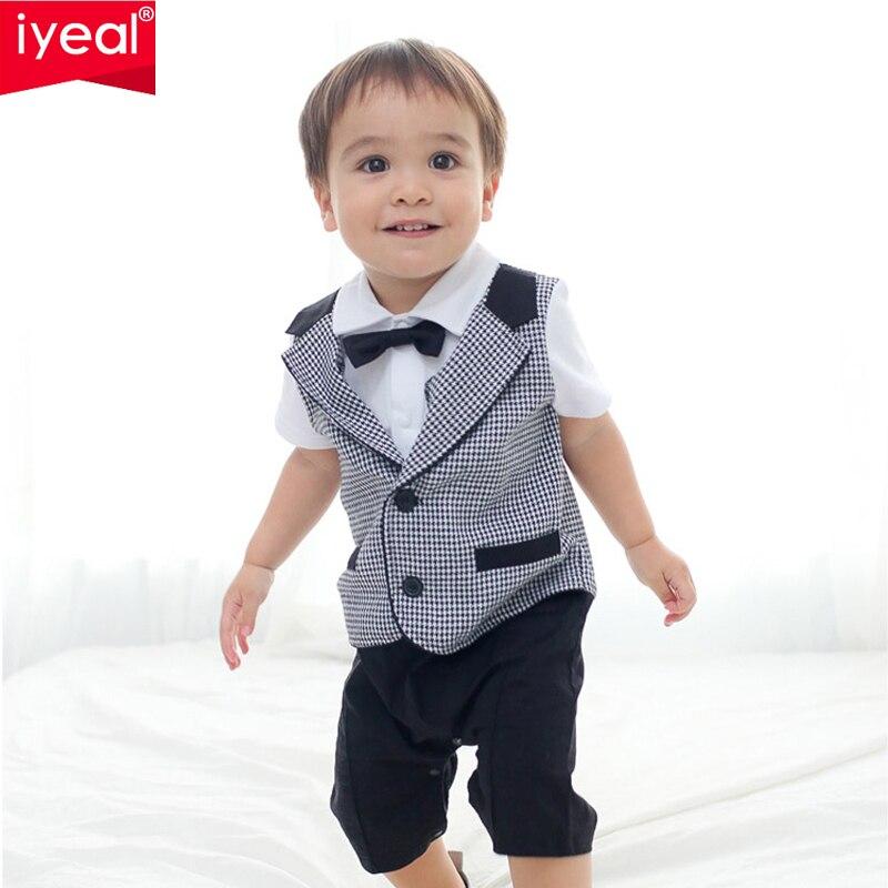 IYEAL для маленьких мальчиков комбинезон 2018 новый летний джентльмен одежда в клетку для новорожденных детей галстук-бабочка короткий рукав к...