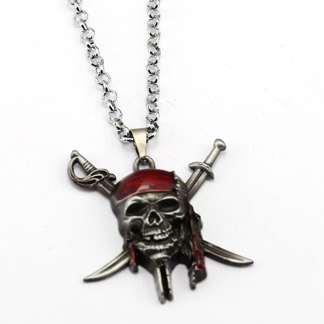 Hsic pirates of the caribbean necklace captain jack sparrow mask hsic pirates of the caribbean necklace captain jack sparrow mask skull and crossbones pendant necklace for aloadofball Images