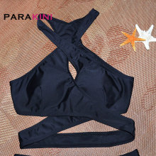 PARAKINI 2017 New Black Sexy Cross Bikinis Set Women Halter Crop Top Swimwear Swimsuit Brazilian Beach Biquinis Bathing Suits