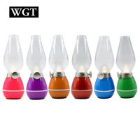 WGT USB Rechargeable LED Night Light Adjustable Blowing Control Kerosene Candle Lamp
