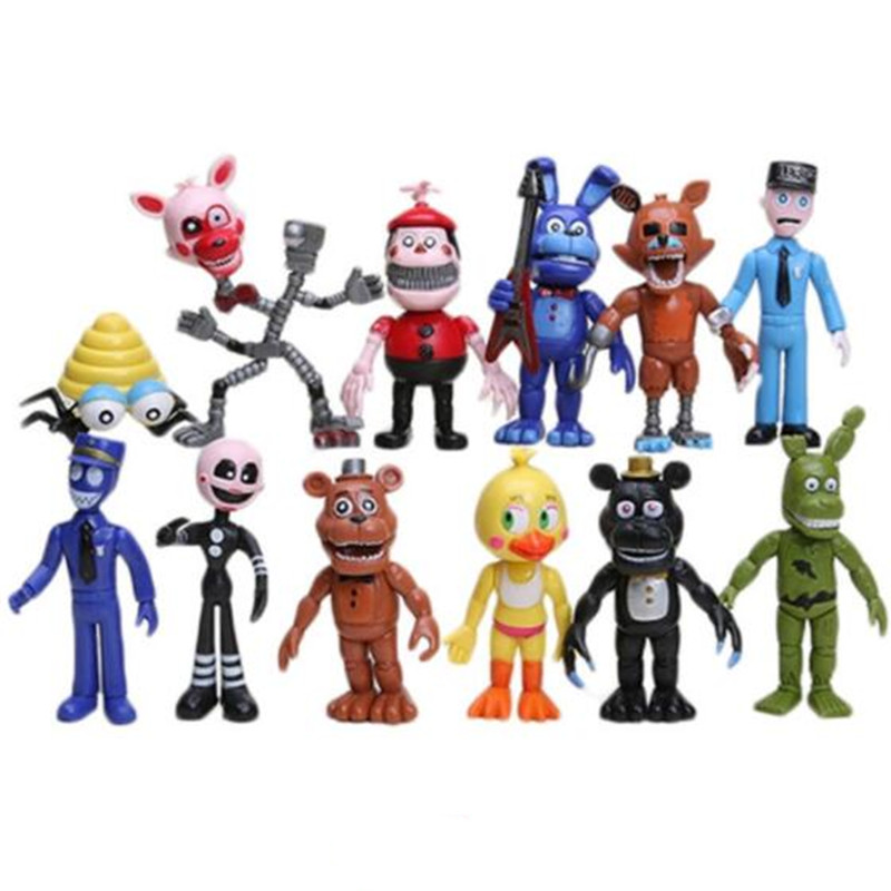 Five Nights At Freddy's Action figure 12pcs/set PVC Bonnie Foxy Freddy Fazbear Bear Doll baby toys for children Christmas gift
