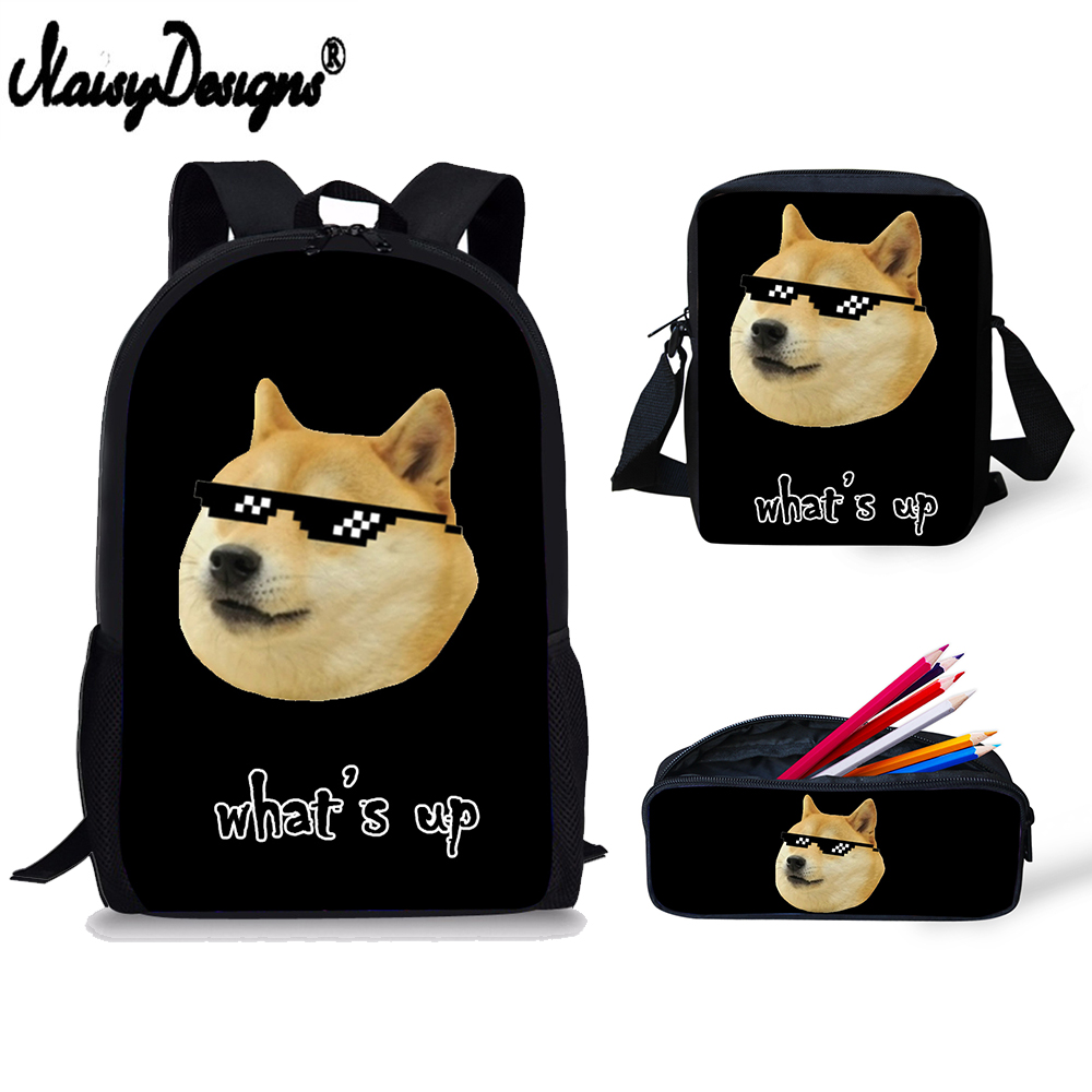 5a079309cf8 3 Set Backpack Childrens Funny Hiba Doge Husky Emoji Print School Bags Kids  Satchel School Men