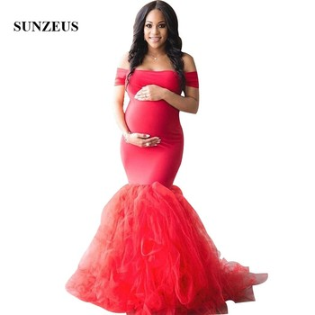 Red Mermaid Evening Gowns Off Shoulder Boat Neck Pregnant Formal Dress Long Maternity Party Robe