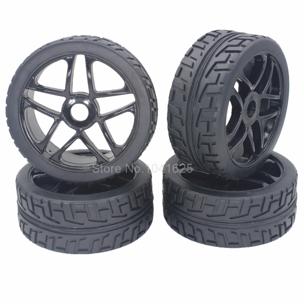 4 Pieces 1 8 Buggy Tires Wheels Rims 17mm Hub For Off Road RC Car HPI