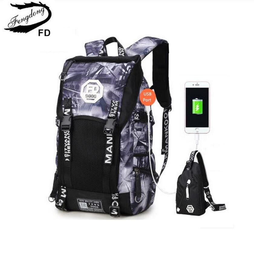 FengDong 2pcs set waterproof men backpack male large travel bag with external usb port black chest bag big boys school backpack kalidi 2pcs set backpack