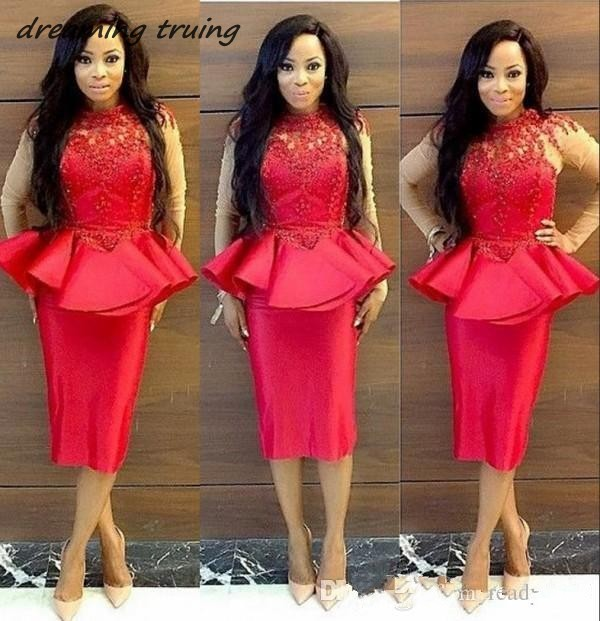 South African Red Lace Applique Prom Cocktail Dress With Peplum High Neck Sheer Long Sleeve Evening Gowns Women Sheath 2019