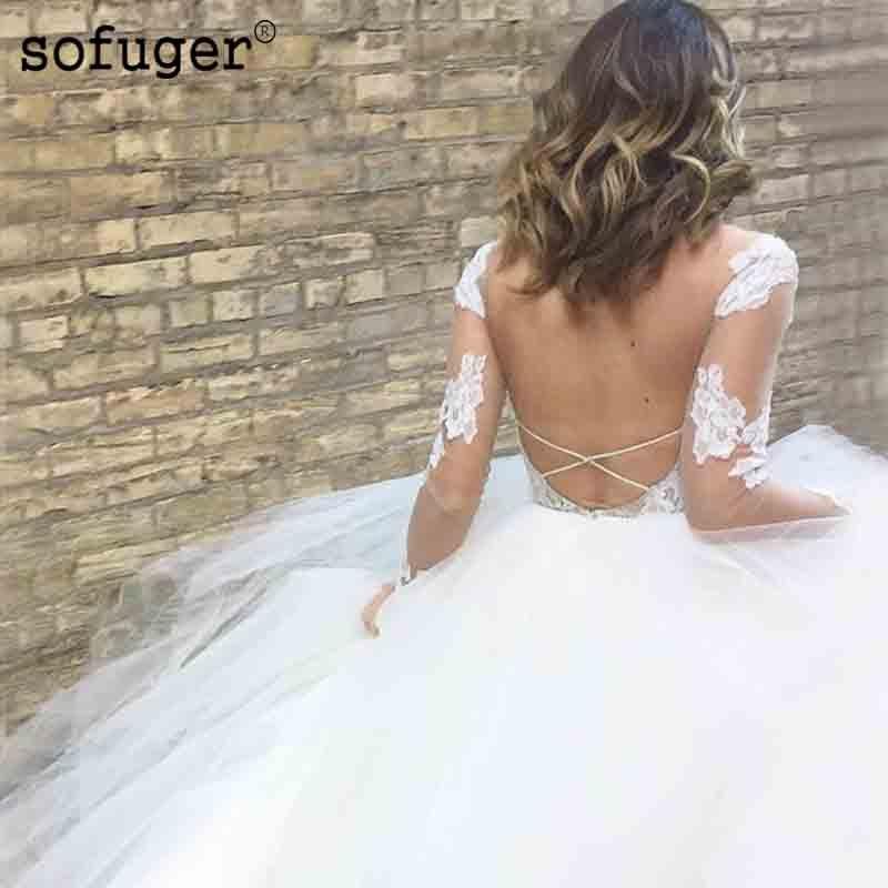 White Sexy Backless Long Sleeves V Neck Pleat Tiered Aline Wedding Dress Robe De Mariee Sofuge Boho Dubai Arabic Abiti Da Sposa