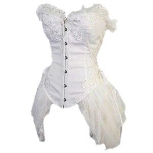 Image 3 - FLORATA beyaz Overbust bel eğitmen korseler elbise Steampunk gotik giyim Burlesque kostümleri kadınlar için 50% kapalı tasfiye satışı