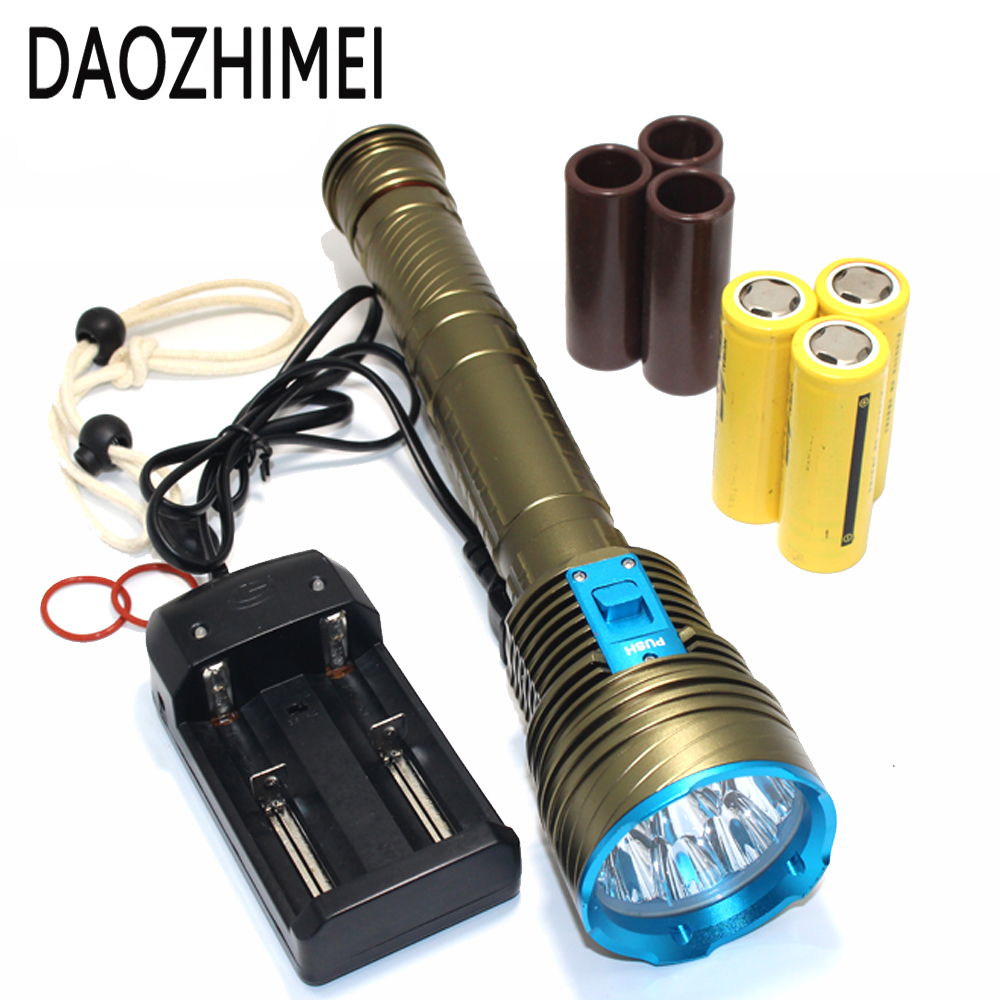 30000 Lumens LED Diving light 9xL2 Waterproof lamp Submersible lamp Work underwater Torch Diving light+3*26650 battery/Charger waterproof ultraviolet diving light 3x uv led lamp diving flashlight scuba torch dive lanterna pcb 26650 battery eu charger