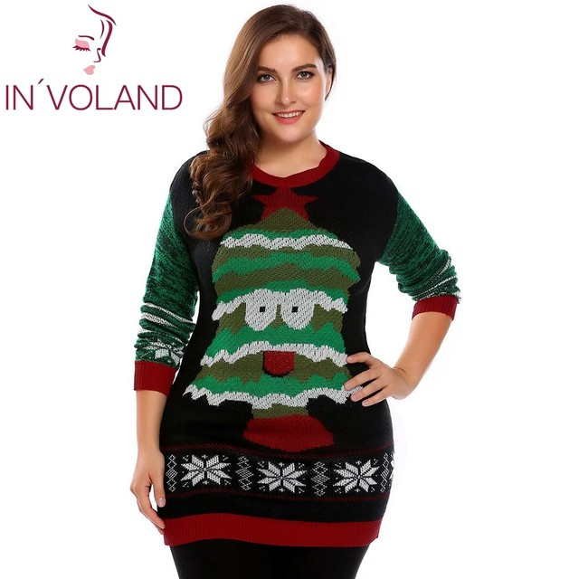 IN VOLAND Plus Size L-4XL Women Sweater Tops Autumn Winter Casual Long  Sleeve Printed Warm Christmas Large Pullover Big Size c0f17b00515a