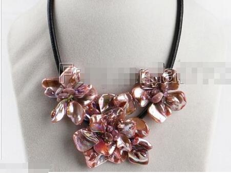 """Venta caliente nuevo Estilo>>>>> Joyería de Moda Madre De Pearl Shell Flor Colgante, Collar de 17 """"de Largo-Rosa"""