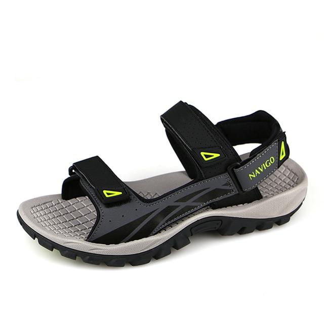 07cc9525905672 NAVIGO Men Sandals Leather Summer Shoes Leather Casual Breathable Mens  Sandles Comfortable Fashion Men Beach Shoes