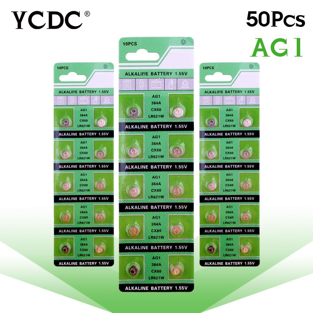 Cheap bateria 1.55v 50 pcs ag1 lr621 d364 sr621sw 364a alkaline batteries button cell coin watch batteries piles pile montre цена 2017