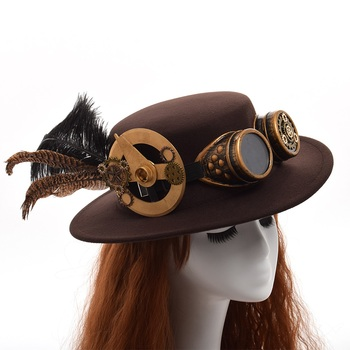 Шляпа в стиле стимпанк с очками вариант 5 1