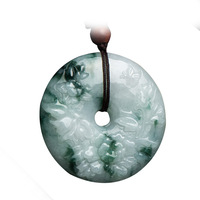 Fine Jewelry Natural Green Jade Pendants Necklace Carving Peace Buckle Round Jade pendant For Men and Women