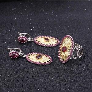 Image 5 - GEMS BALLET 1.00Ct Natural Rhodolite Garnet Sunflower Rings 925 Sterling Silver Handmade Ring for Women Bijoux Fine Jewelry
