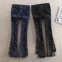 Fashion Flower Embroidery Jeans Flared Women Jeans With Rhinestones Cropped Wide Leg Jeans Women Plus Size Stretch Denim Pants