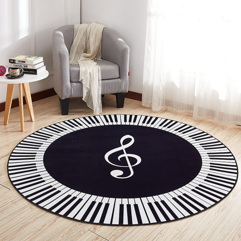 EHOMEBUY New Carpet Music Symbol Piano Keys Black White Round Carpet Anti Slip Rugs Home Bedroom Foot Pads Floor Decoration