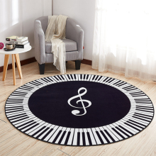 EHOMEBUY New Carpet Music Symbol Piano Keys Black White Round Anti Slip Rugs Home Bedroom Foot Pads Floor Decoration