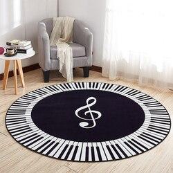 Ehomebuy novo tapete música símbolo piano chaves preto branco tapete redondo anti deslizamento tapetes casa quarto almofadas de pé decoração do assoalho