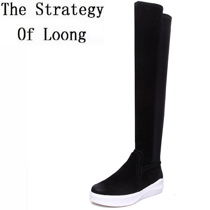 High Quality Flat Boots Spring Autumn Genuine Leather Over The Knee Women Long Boots Woman Full Grain Leather Winter Boots autumn winter high quality hot sale genuine leather over the knee boots platform buckle long women boots