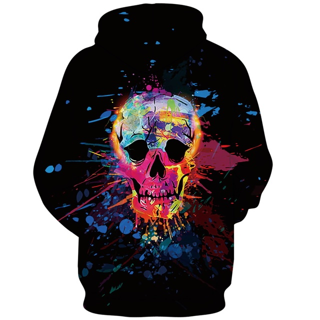 Alisister 2019 3D Painted Colorful Skull Hoodies Sweatshirt Casual Pullovers Skeleton Unisex Tops Hip Hop Sportswear Tracksuit 1