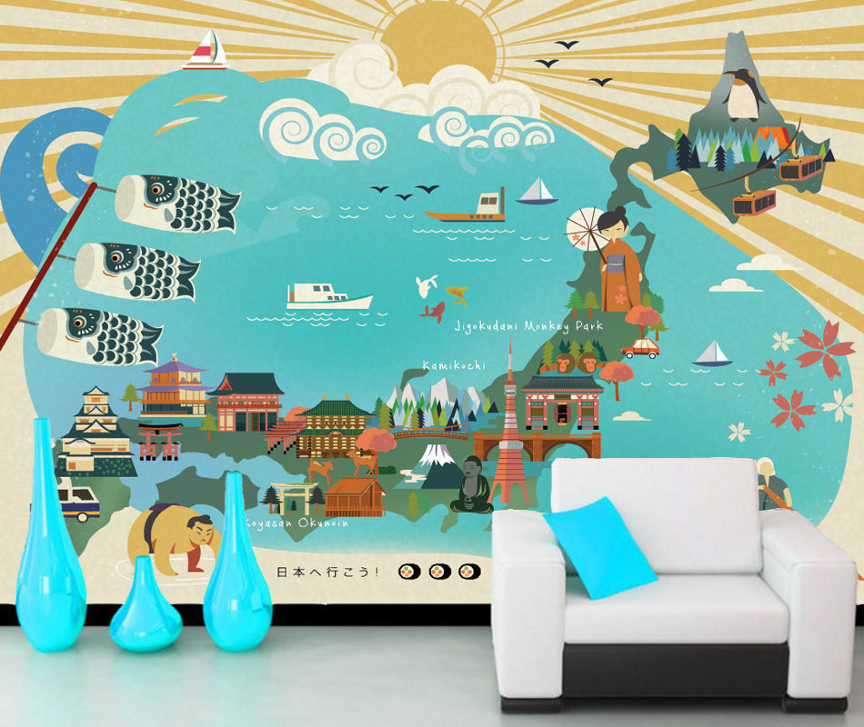 Japanese style wallpaper, travel map, photo natural mural for children boy and girl bedroom sofa background wall papel de parede custom baby wallpaper snow white and the seven dwarfs bedroom for the children s room mural backdrop stereoscopic 3d