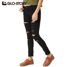 GLO-STORY Women's With High Waist Jeans 2018 New Fashion European Style Feminine Pants Skinny Denim Ripped Torn Jeans WNK-2104