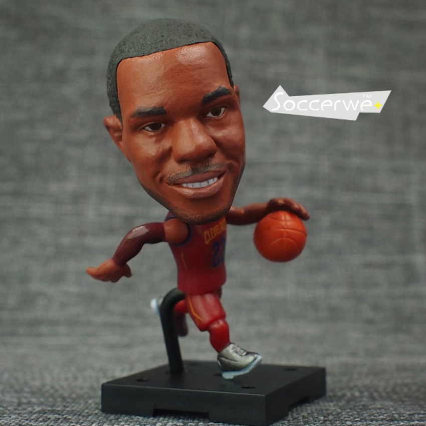 New Soccerwe+ Basketball Player Movable Doll 23# JAMES (CAVS +Red) 2.5 Figurine ...