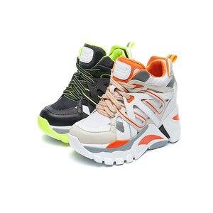 Image 1 - SWYIVY Wedge Chunky Sneakers kobiety obuwie 2019 nowe oddychające szczupłe nogi czarne trampki platformowe buty dla kobiety Sneaker